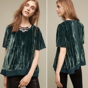 Anthropologie Maeve Velvet Swing Top Shirt Green L